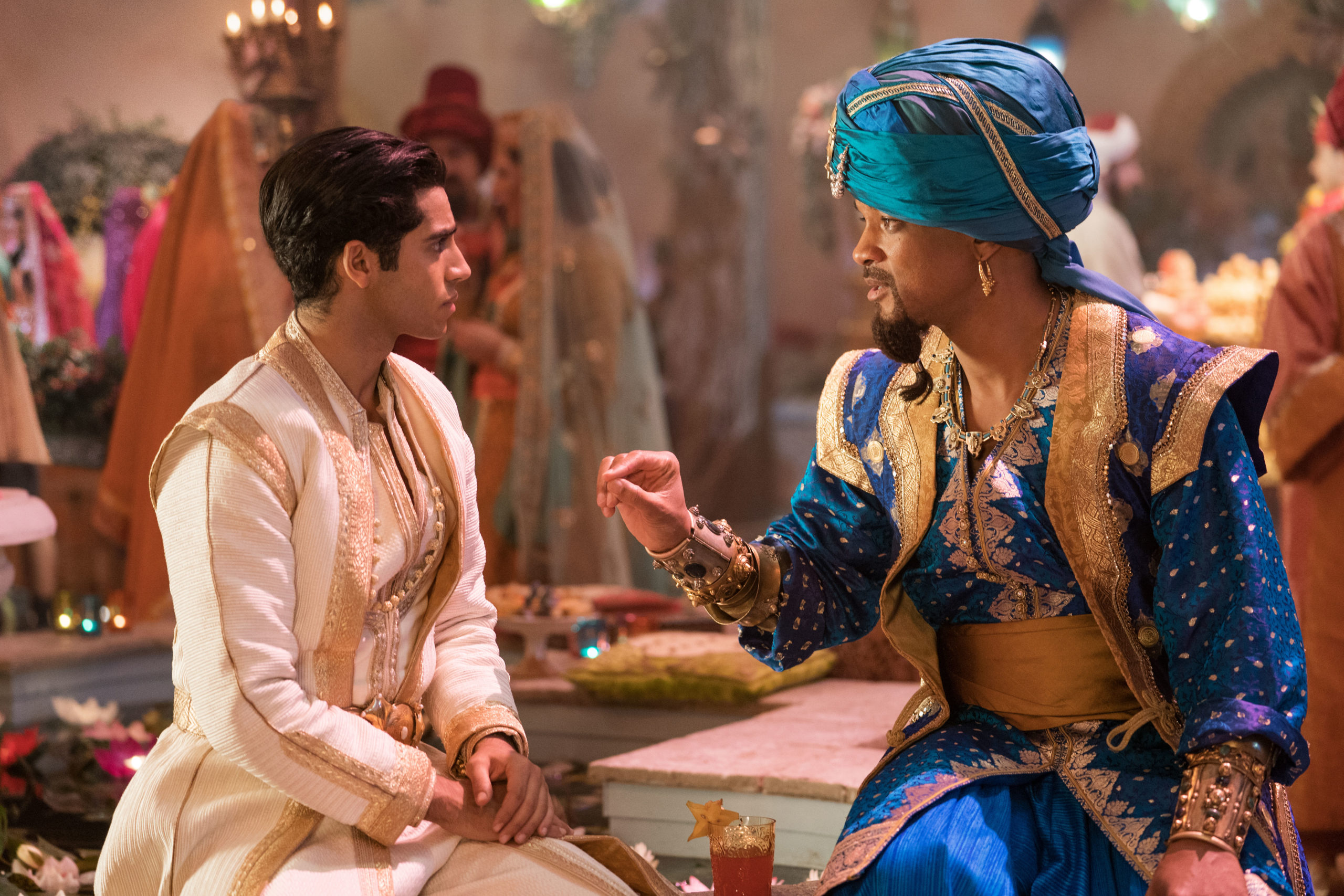 Will Smith is the Genie and Mena Massoud is Aladdin in Disney's live-action ALADDIN, directed by Guy Ritchie.