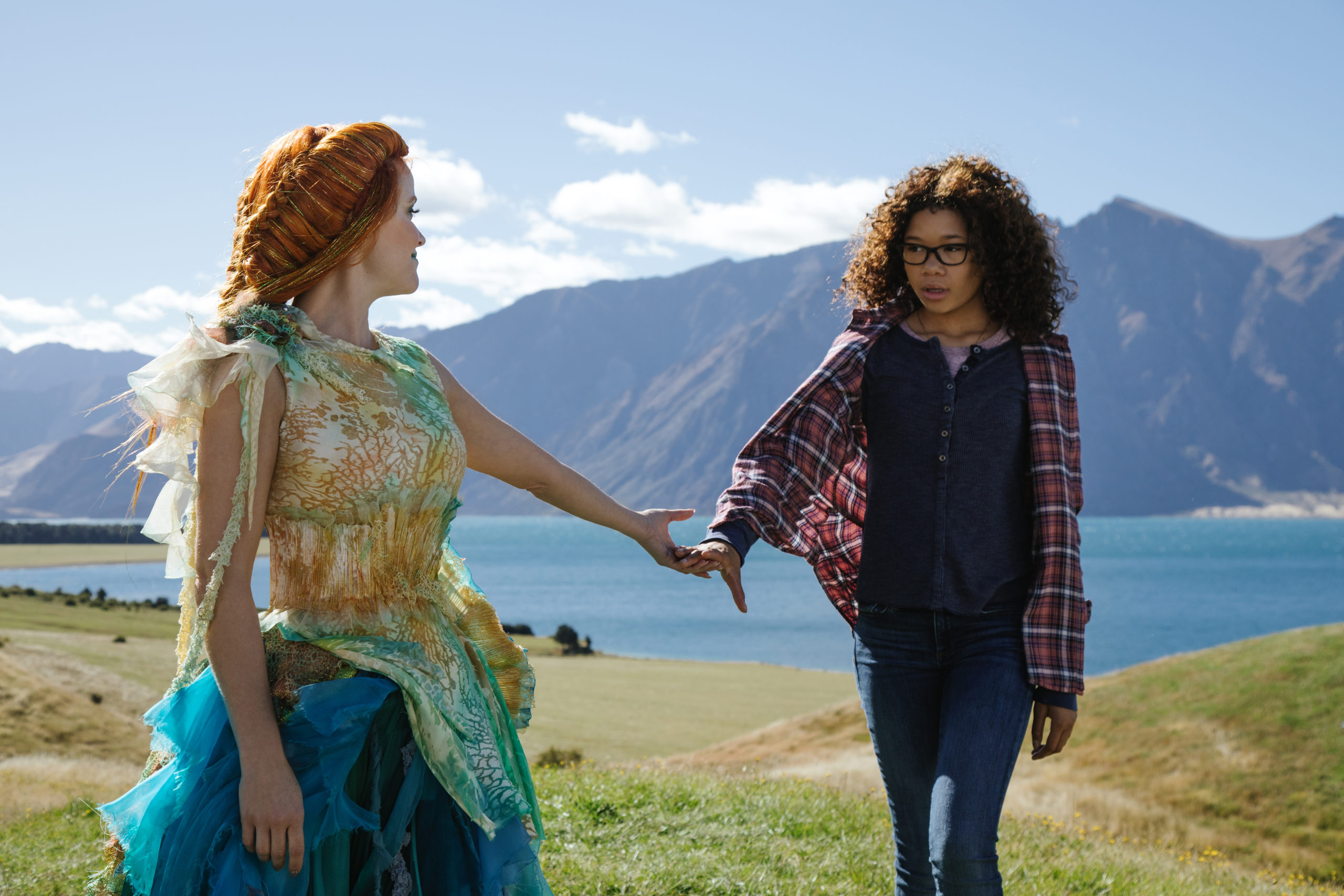 Reese Witherspoon is Mrs. Whatsit and Storm Reid is Meg Murry in Disney's A WRINKLE IN TIME.