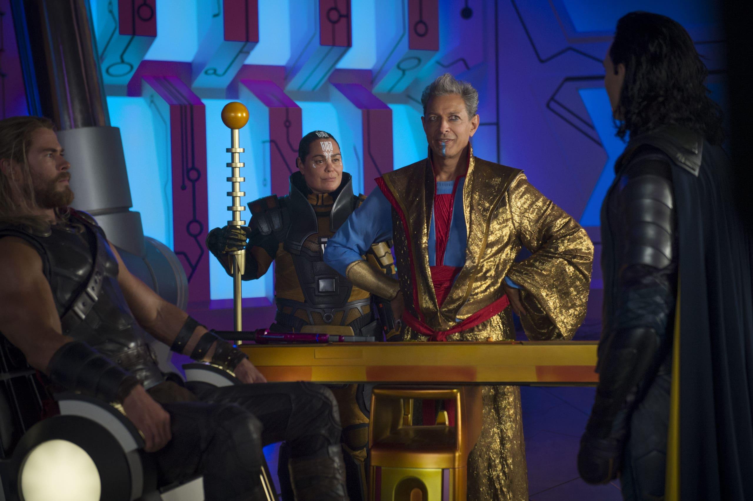 Marvel Studios Thor: Ragnarok..L to R: Thor (Chris Hemsworth), Topaz (Rachel House), Grandmaster (Jeff Goldblum) and Loki (Tom Hiddleston)..Photo: Jasin Boland..©Marvel Studios 2017