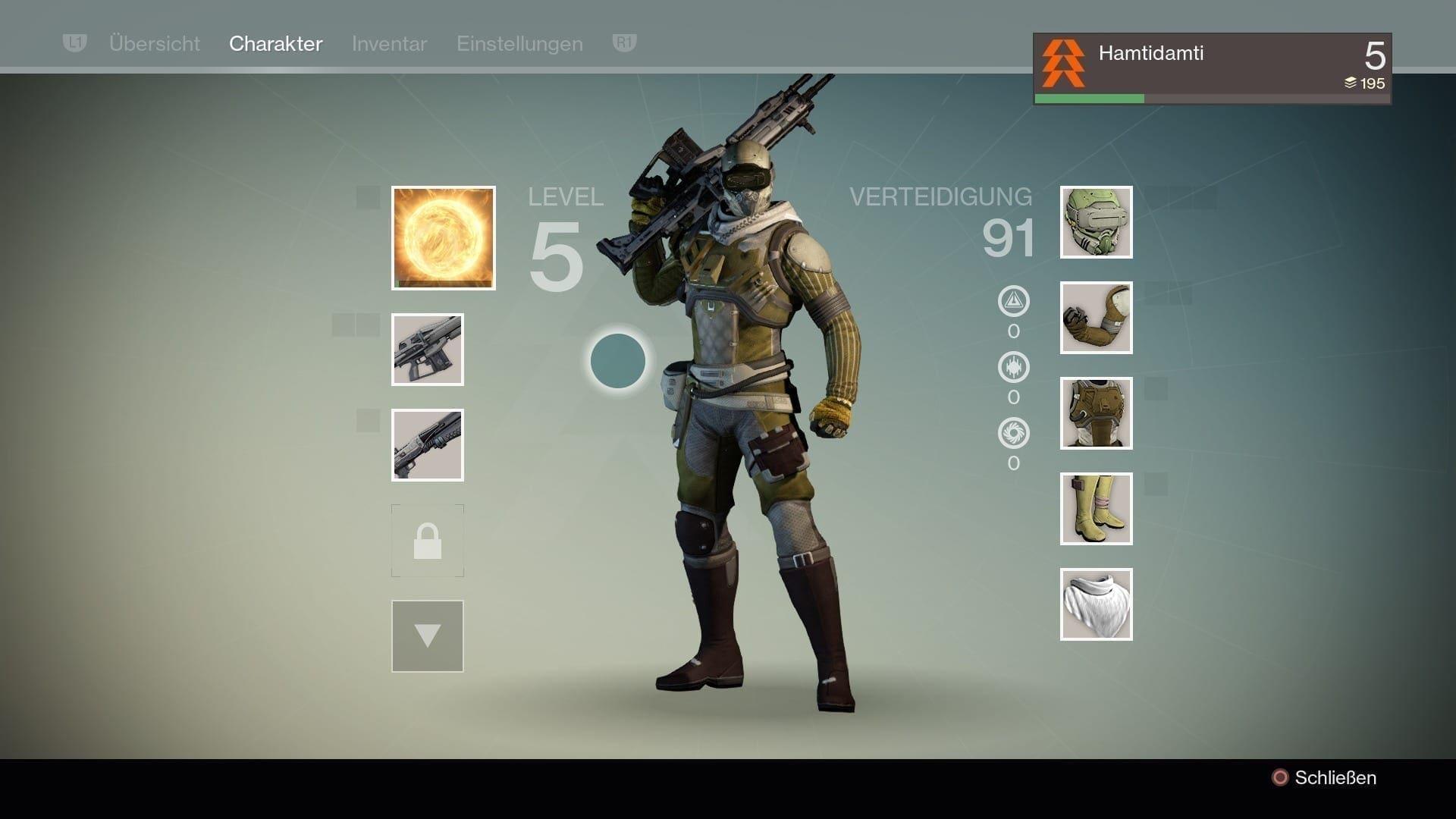 Menü für Charakter-Upgrades, Rüstungsteile und das Waffenarsenal