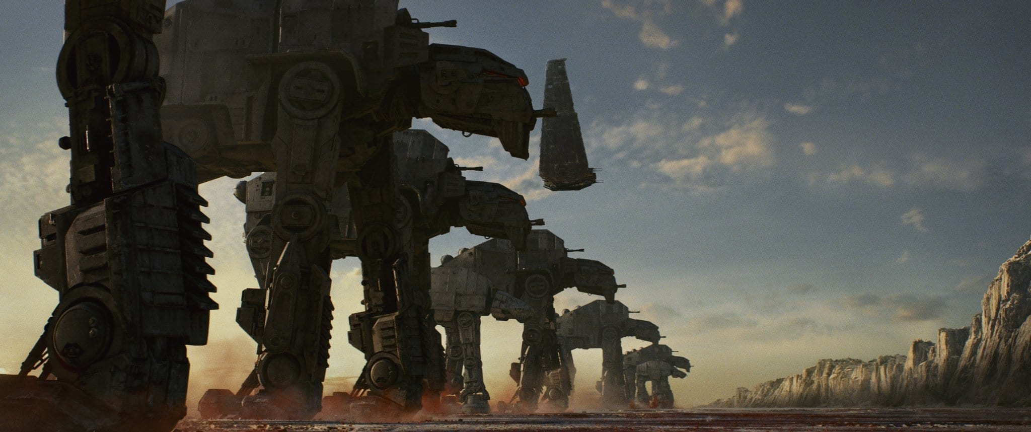 Star Wars: The Last Jedi..AT-M6 Walkers, along with Kylo's Shuttle..Photo: Lucasfilm Ltd. ..© 2017 Lucasfilm Ltd. All Rights Reserved.