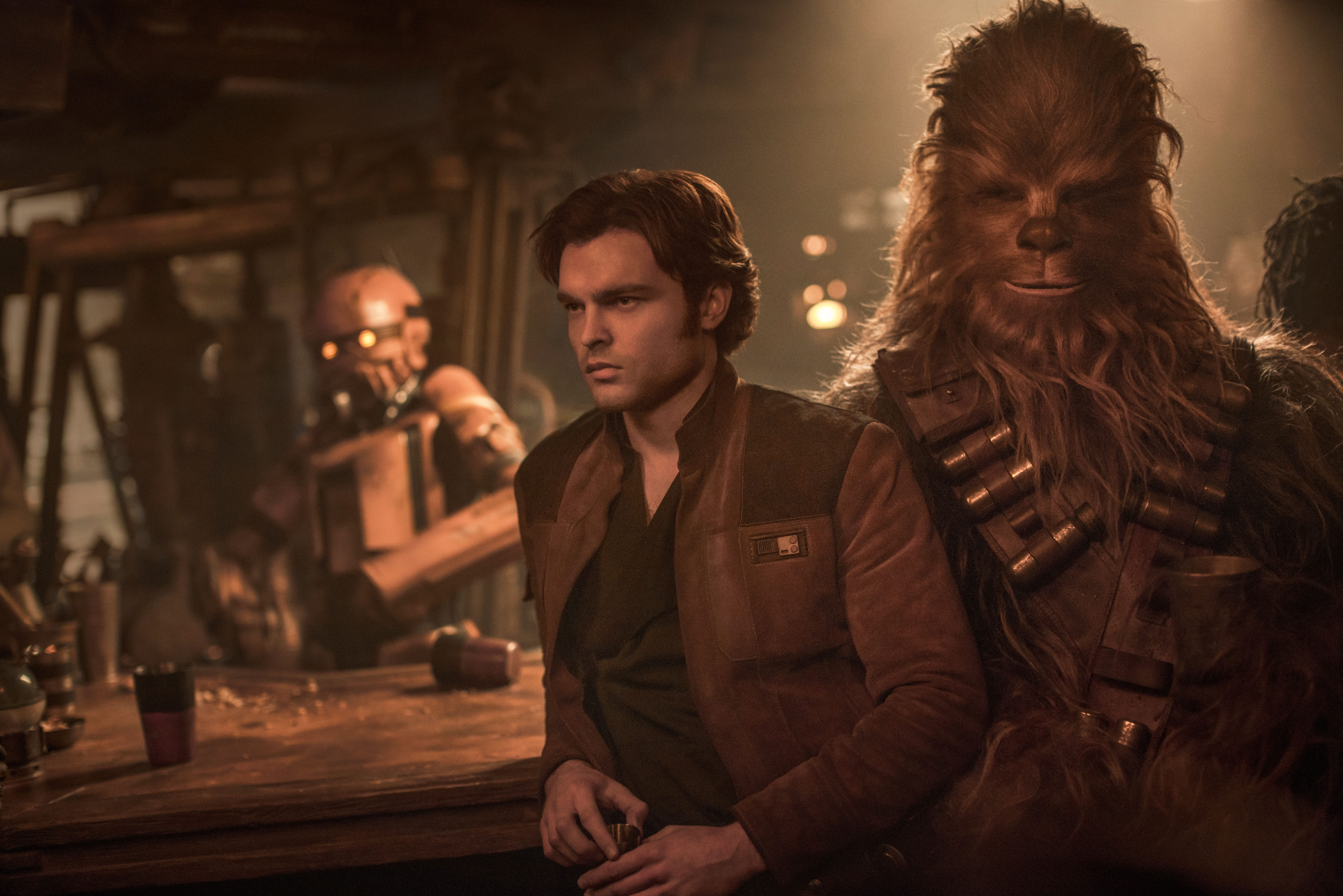 Alden Ehrenreich is Han Solo and Joonas Suotamo is Chewbacca in SOLO: A STAR WARS STORY. © 2017 Lucasfilm Ltd. & ™, All Rights Reserved..