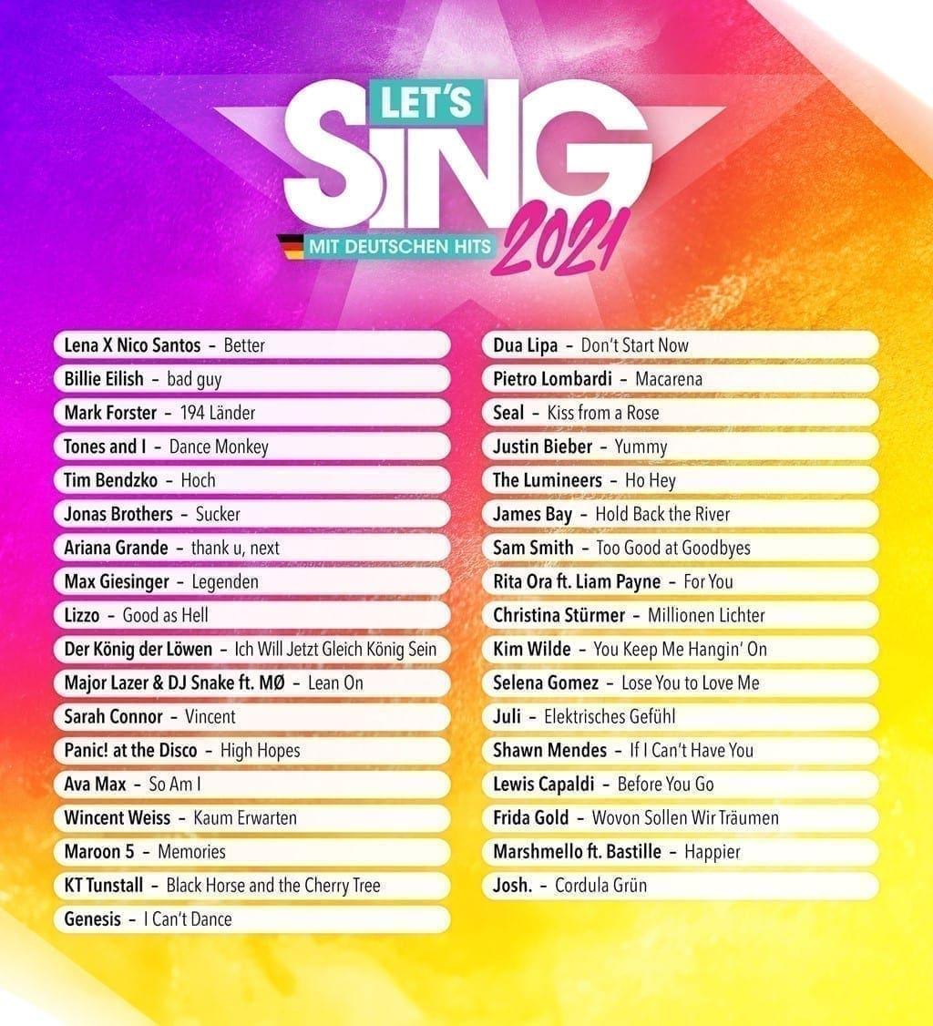 Let's Sing 2021 deutschsprachige Setlist