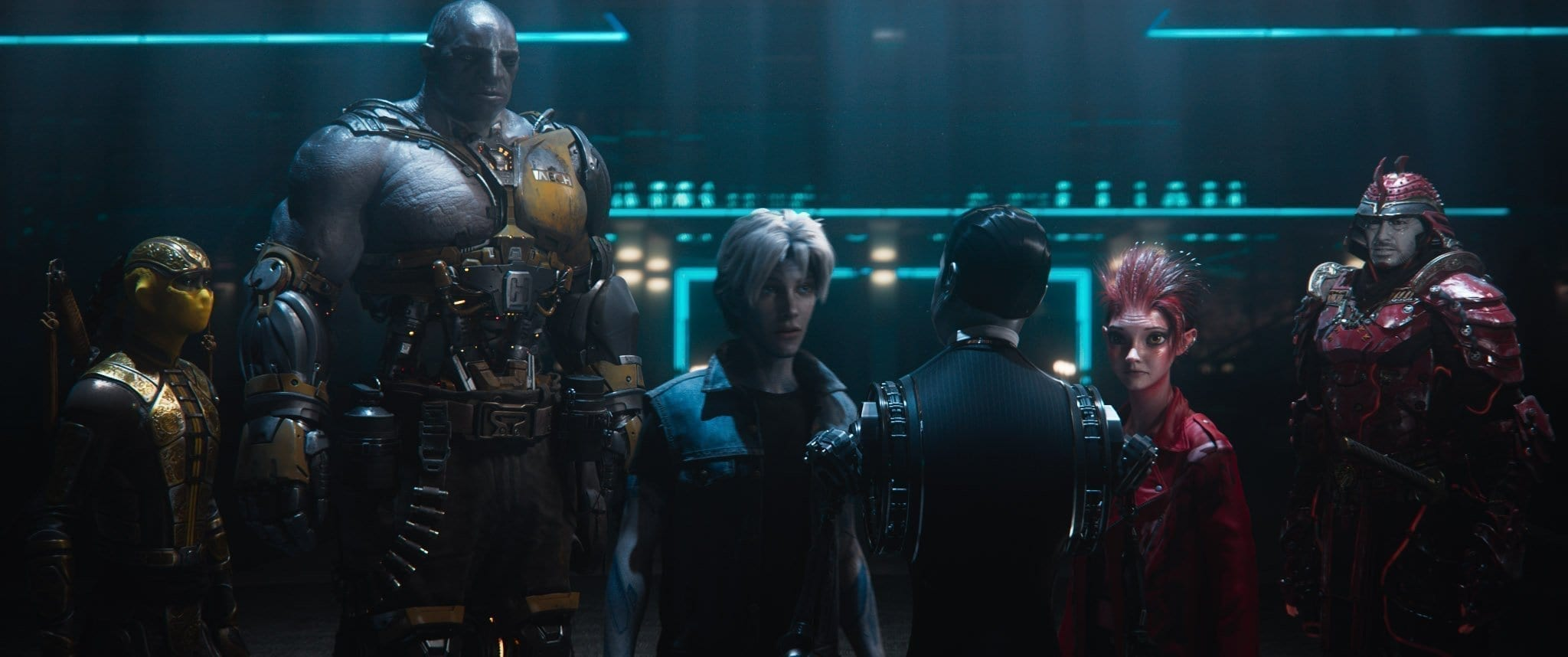 """(L-r) Sho voiced by PHILIP ZHAO, Aech voiced by LENA WAITHE, Parzival voiced by TYE SHERIDAN, the Curator, Art3mis voiced by OLIVIA COOKE and Daito voiced by WIN MORISAKI in Warner Bros. Pictures,' Amblin Entertainment's and Village Roadshow Pictures' science fiction action adventure """"READY PLAYER ONE,"""" a Warner Bros. Pictures release."""