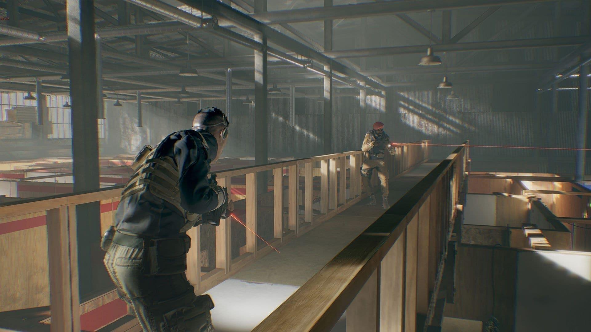 Hier wird in einer Lagerhalle nach Gegnern gejagt.