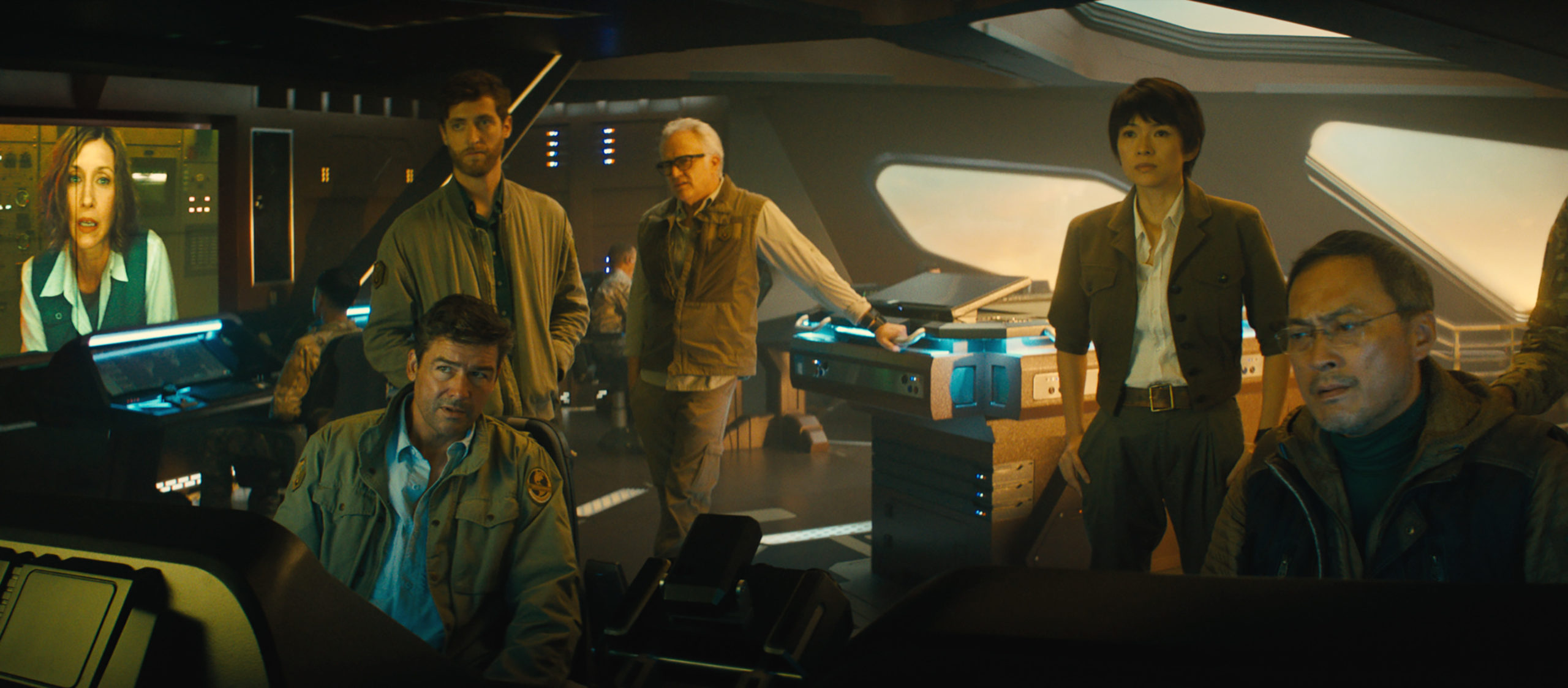 """(L-R) VERA FARMIGA as Dr. Emma Russell, KYLE CHANDLER as Dr. Mark Russell, THOMAS MIDDLEDITCH as Sam Coleman, BRADLEY WHITFORD as Dr. Rick Stanton, ZIYI ZHANG as Dr. Ilene Chen and KEN WATANABE as Dr. Ishiro Serizawa in Warner Bros. Pictures' and Legendary Pictures' action adventure """"GODZILLA: KING OF THE MONSTERS,"""" a Warner Bros. Pictures release."""