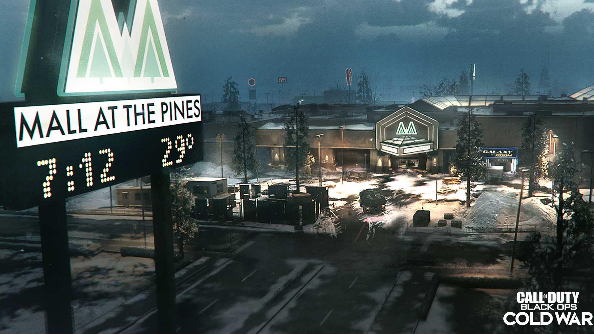 Screenhsot des Spiels Call of Duty: Black Ops Cold War Saison 1 zeigt die neue Karte Mall at the Pines