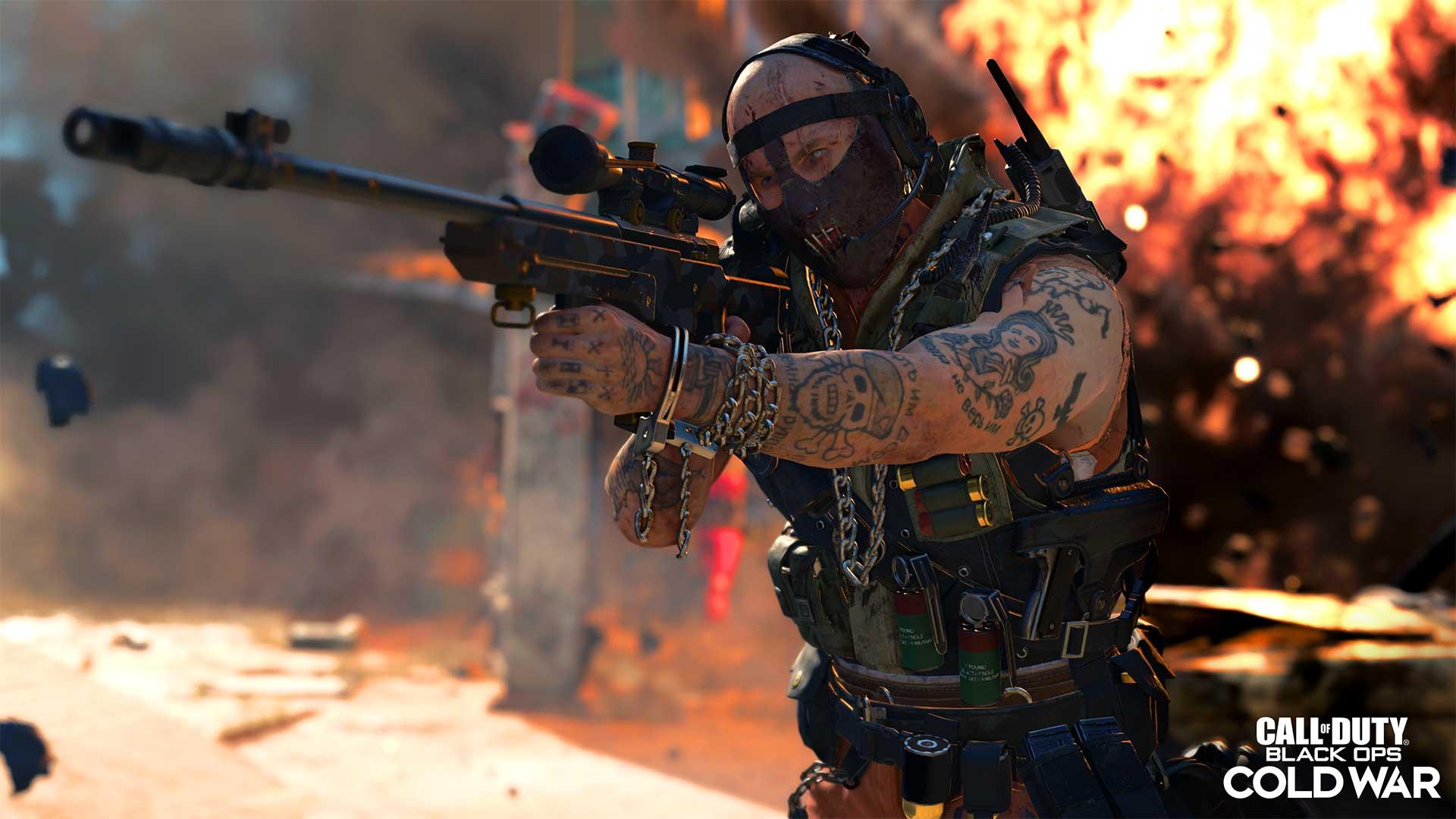 Screenhsot des Spiels Call of Duty: Black Ops Cold War Saison 1 zeigt den neuen Operator Stitch