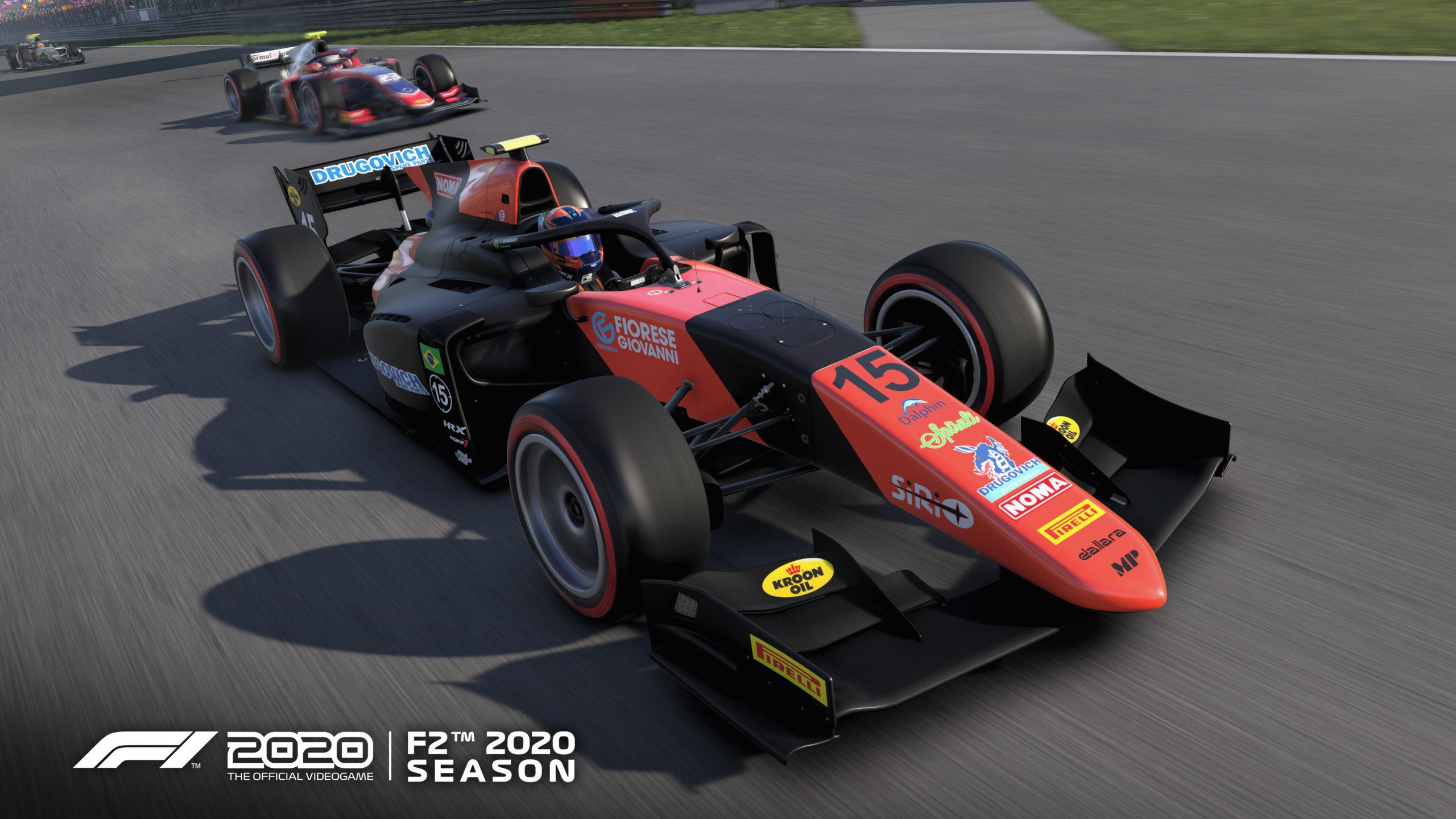 Screenshot von Spiel F1202 zeigt zwei Rennboliden der neu hinzugefügten F2-Season