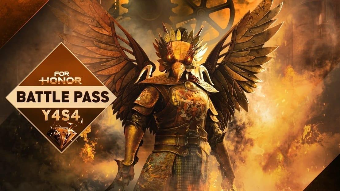 Dieser Screenshot des Spiels For Honor bewirbt den Battle Pass von Year 4 Season 4 Mayham