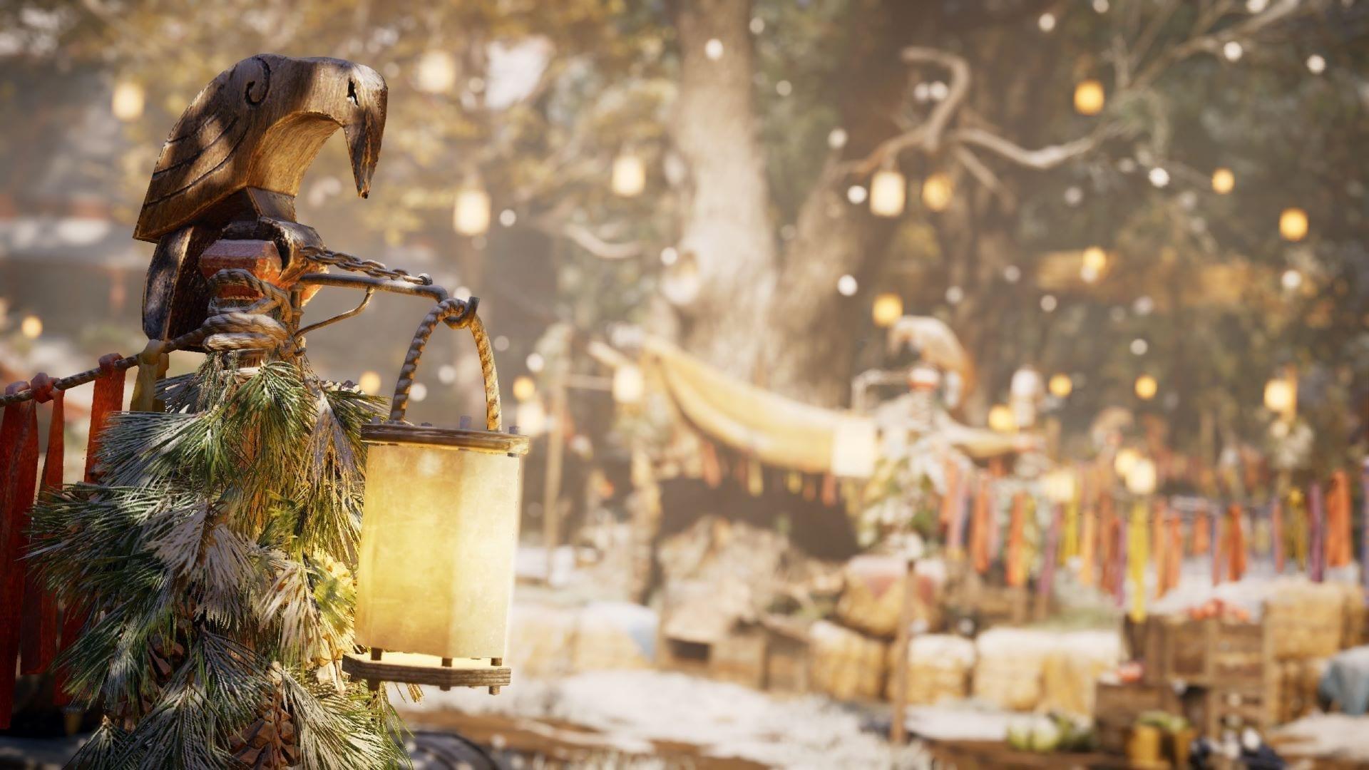 Der Screenshot des Spiels Assassin's Creed Valhalla zeigt ein für das Julfest der ersten Saison festlich geschmücktes Dorf