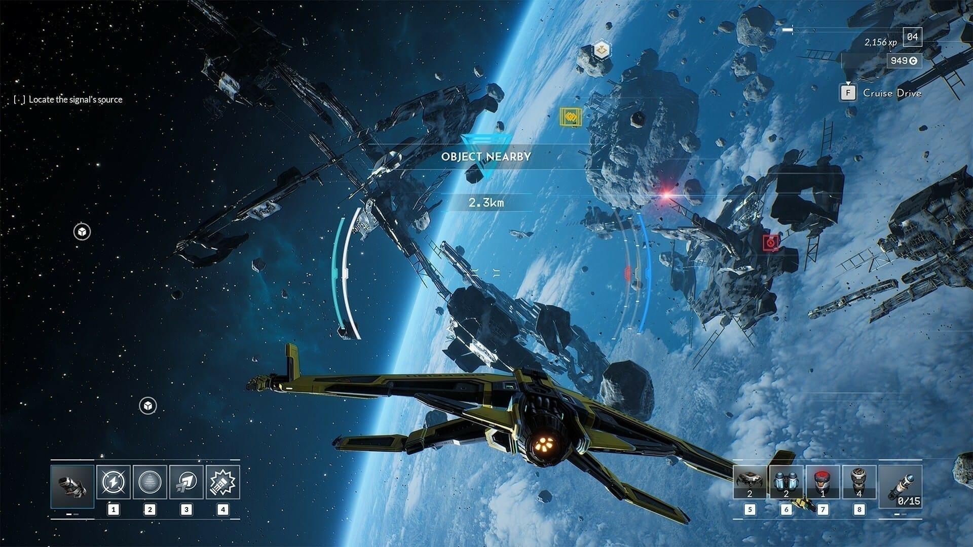 Der Screenshot aus Everspace 2 zeigt ein gelbes Raumschiff im Weltall