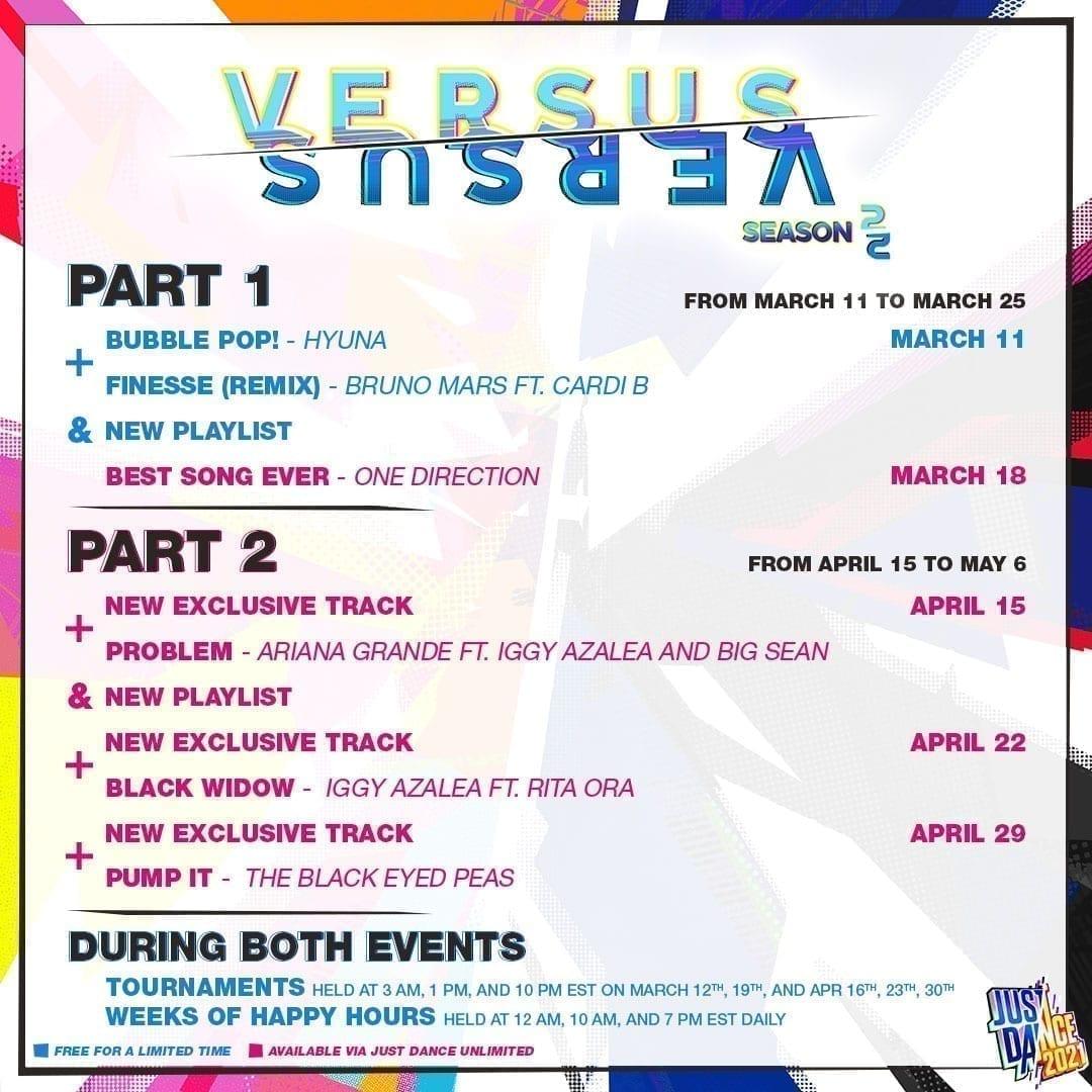 Just Dance Season 2 Versus Events im Überblick