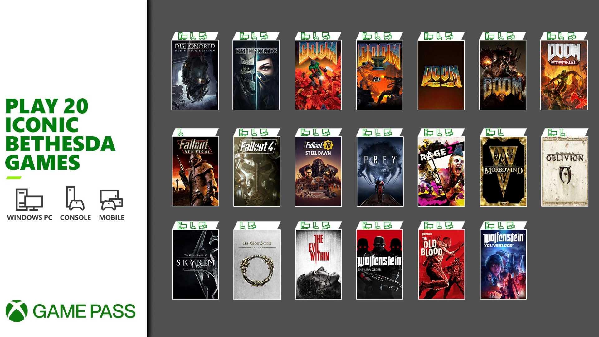 Bethesda Xbox Game Pass Spiele im Überblick