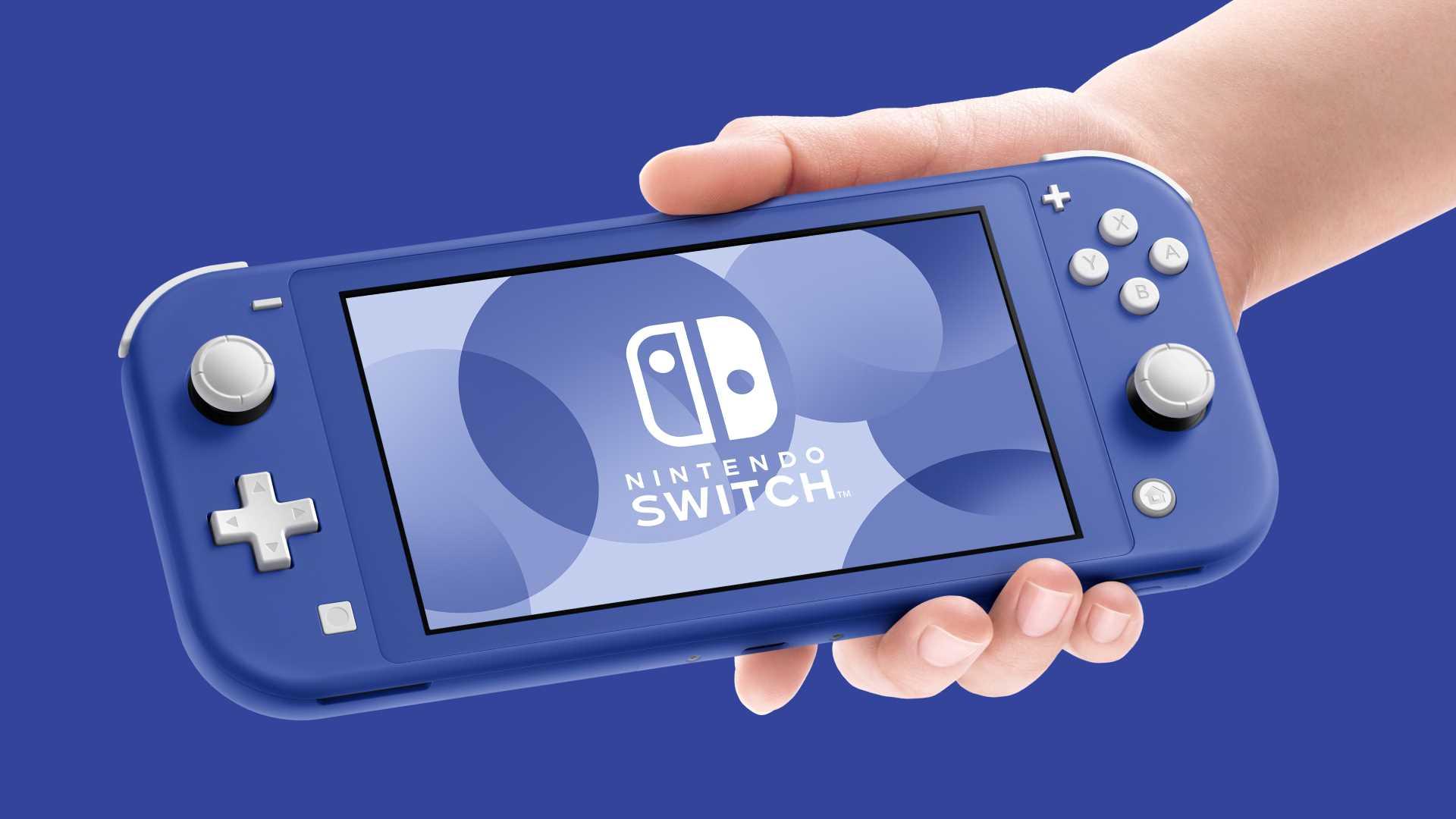 Nintendo Switch Lite Blau - Switch im Farbton Blau auf blauem Hintergrund