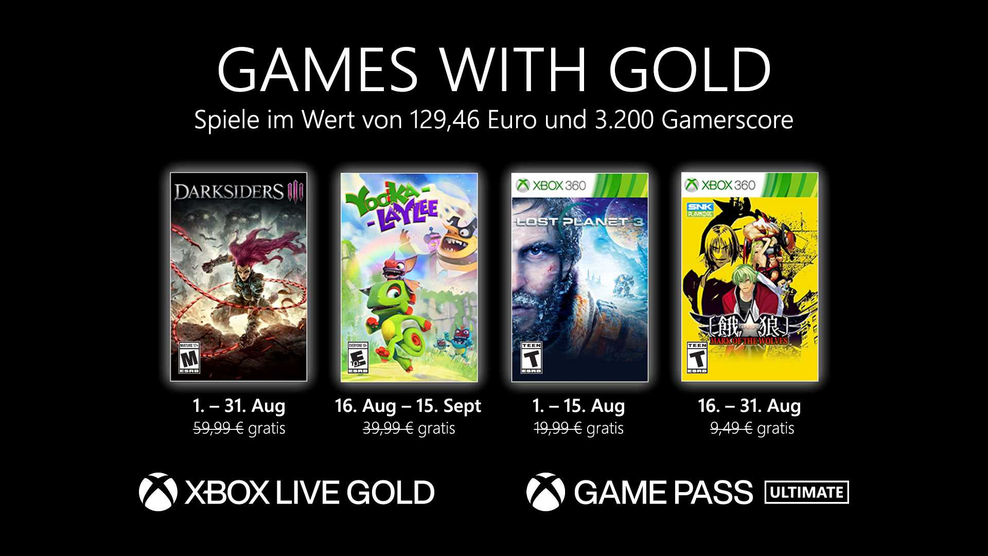 Games with Gold August 2021 - Key Art