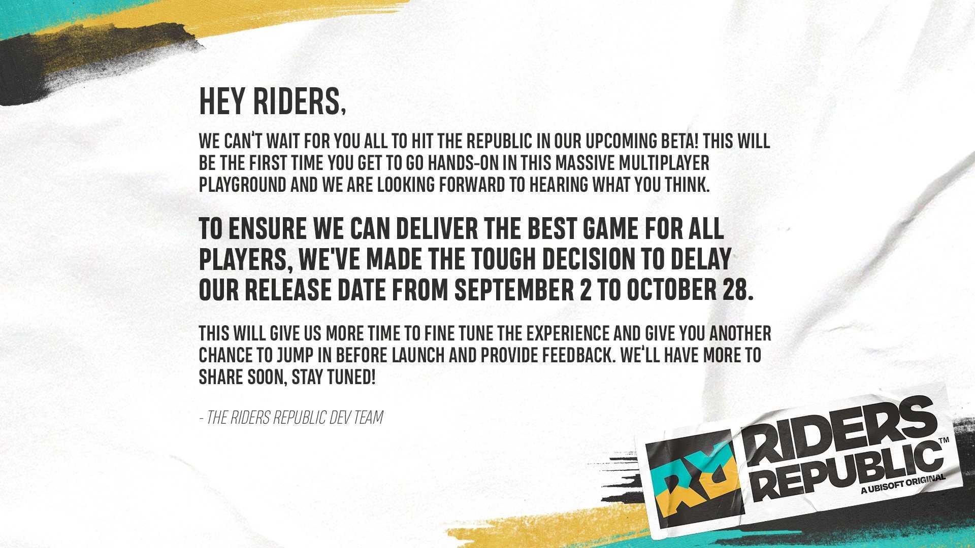 Riders Republic verschoben - Information