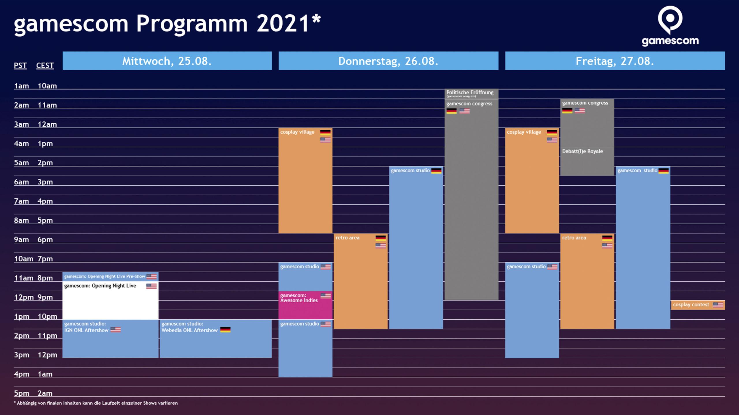 gamescom 2021 - Programmübersich