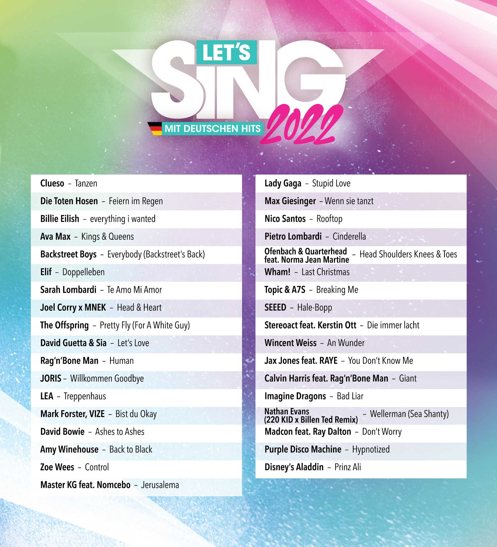 Let's Sing 2022 - Set list